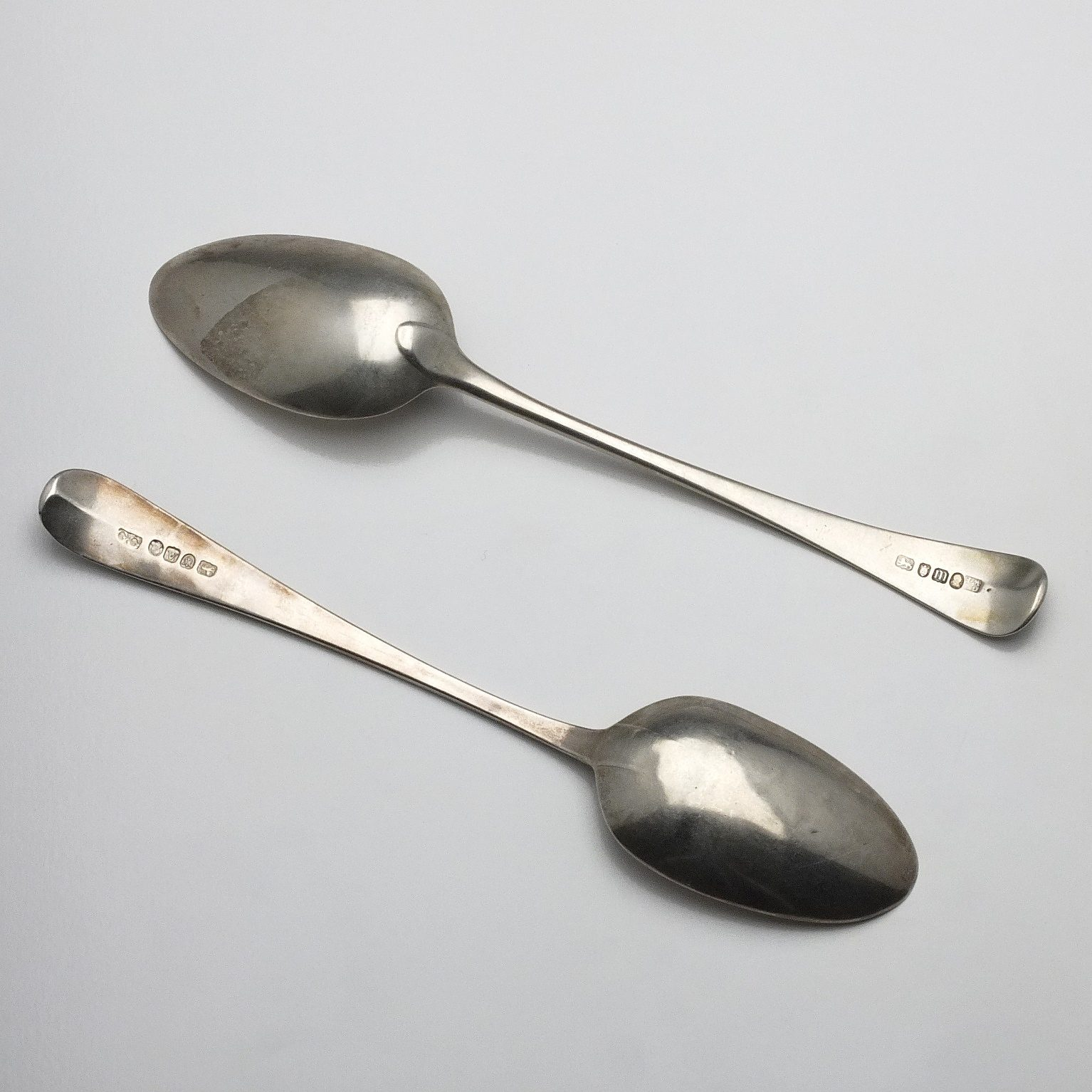 'Two George III Sterling Silver Table Spoons George Smith III & William Fearn London 1787 and George Gray London 1796'