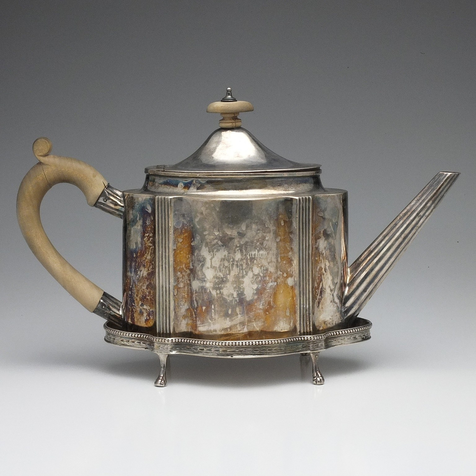 'George III Sterling Silver Teapot and Trivet John Langlands I & John Robertson I Newcastle 1810'