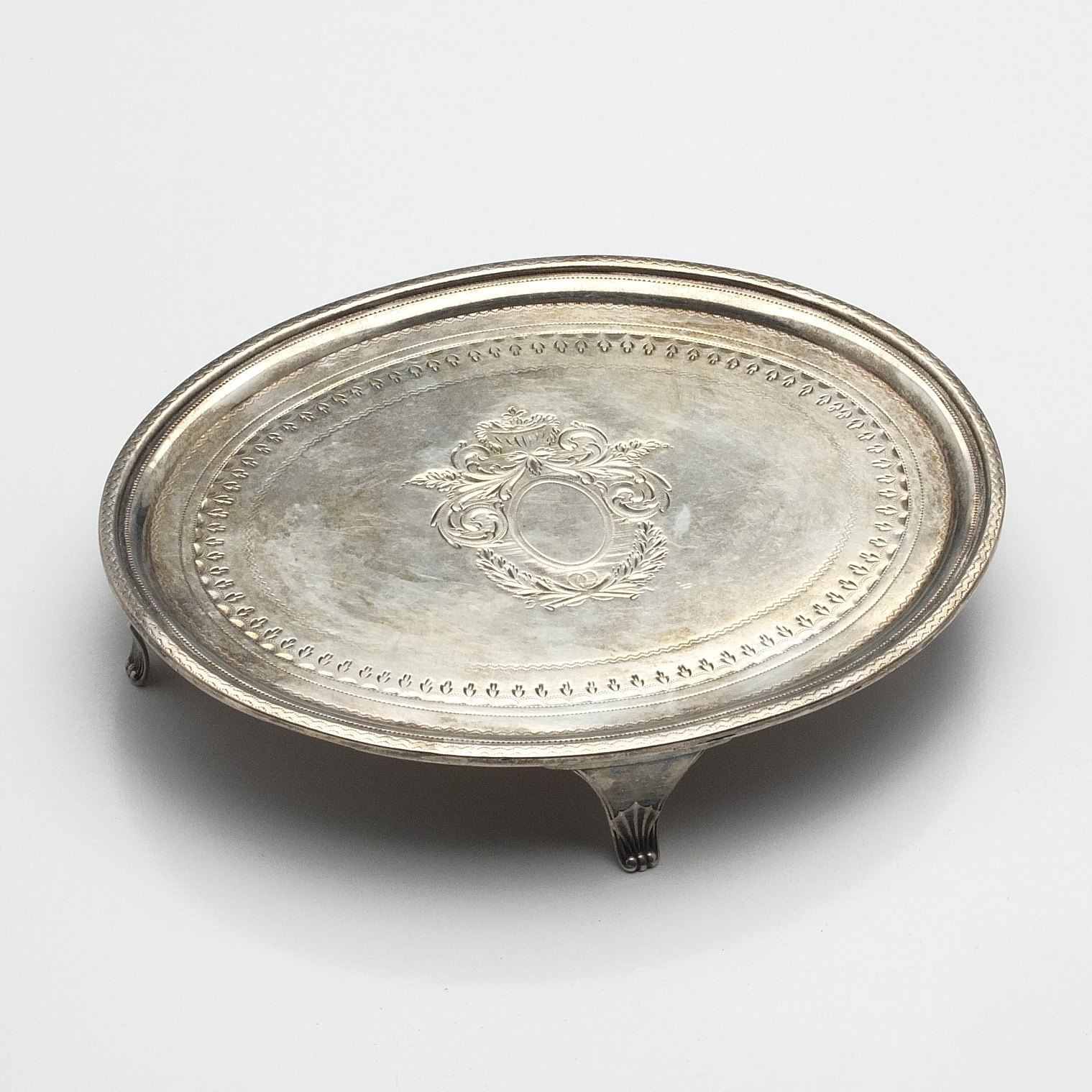 'George III Sterling Silver Bright Cut and Engraved Trivet London 1798'
