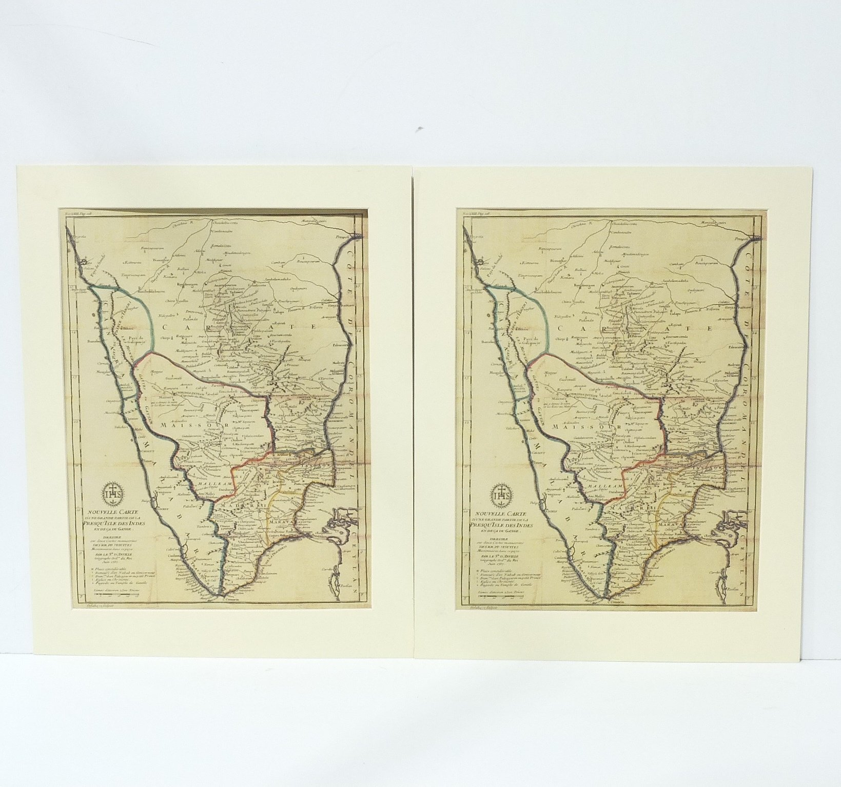 'Eight Framed and Mounted Colour Maps of Nouvelle Carte'
