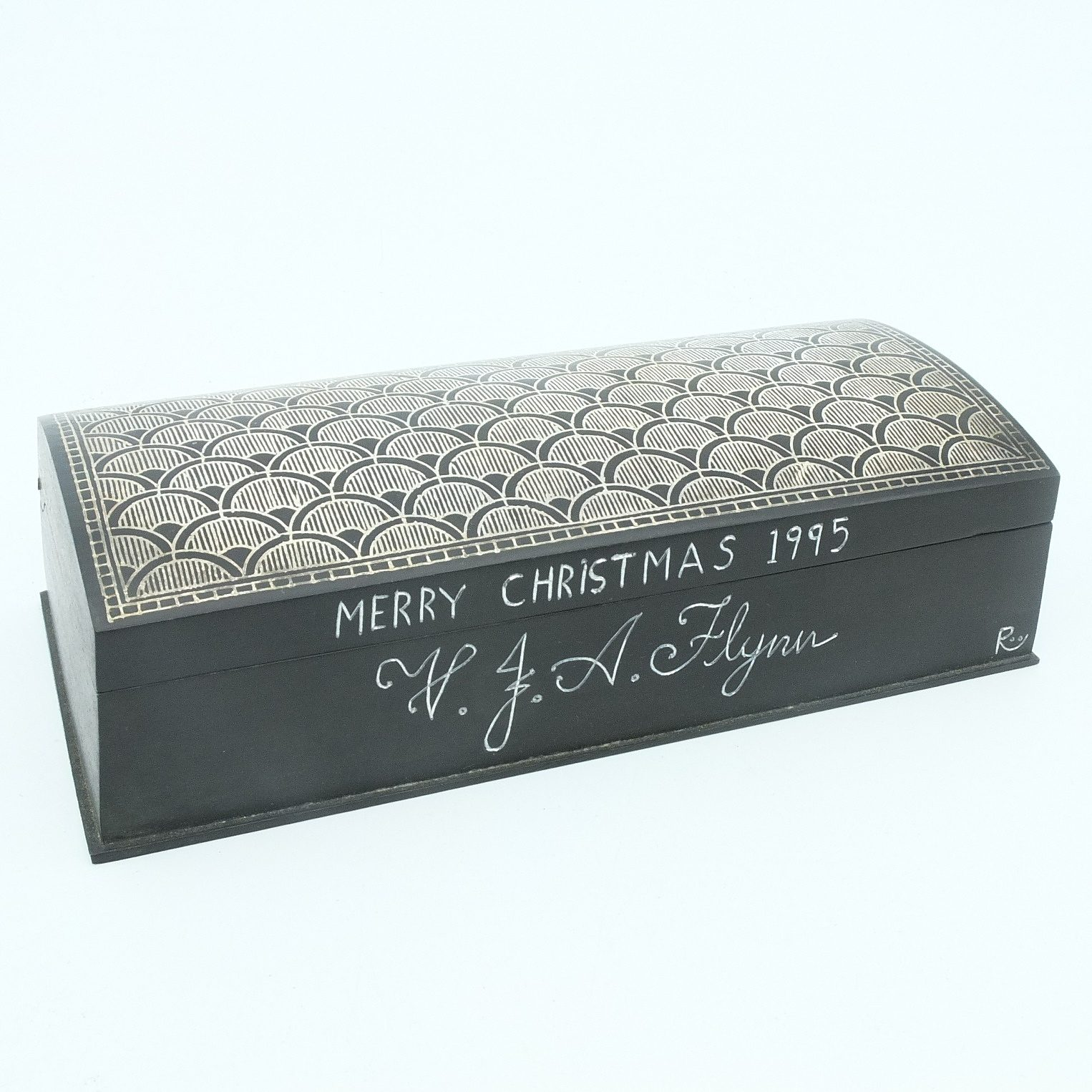 'Indian Niello Work Box With Inscription Merry Christmas 1995 V J A Flynn'
