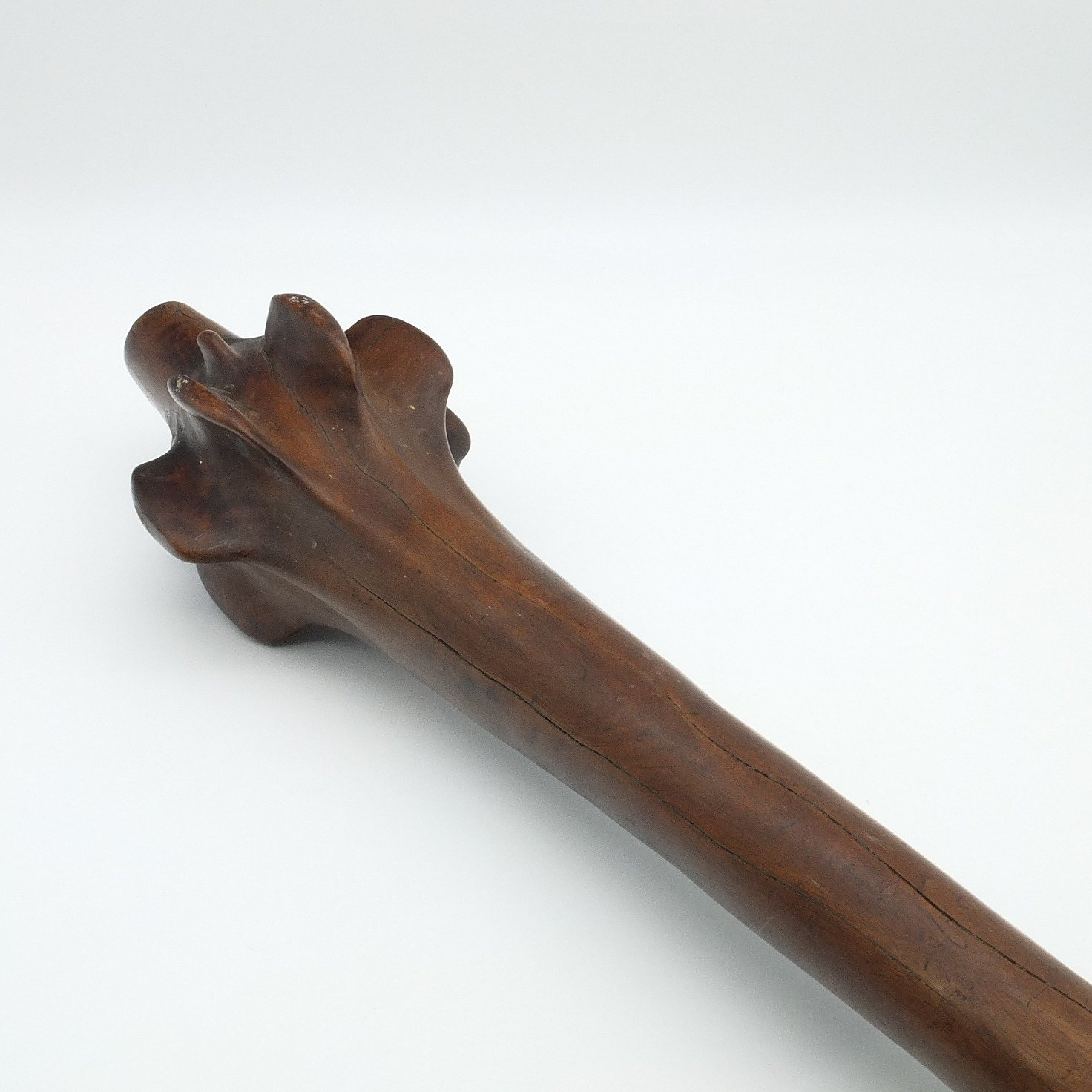 'Fijian Waka Club with Root Head and Carved Geometric Designed Handle'