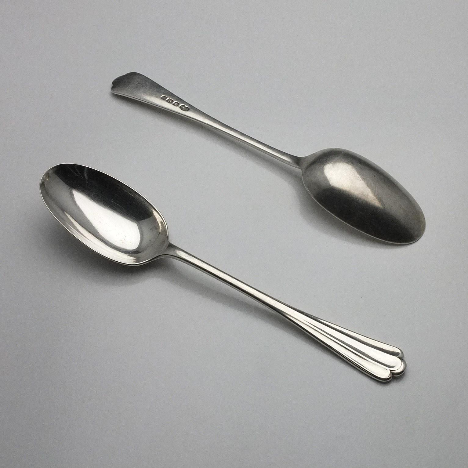 'Two Edwardian Sterling Silver Table Spoons Elkington & Co Ltd Birmingham 1909'