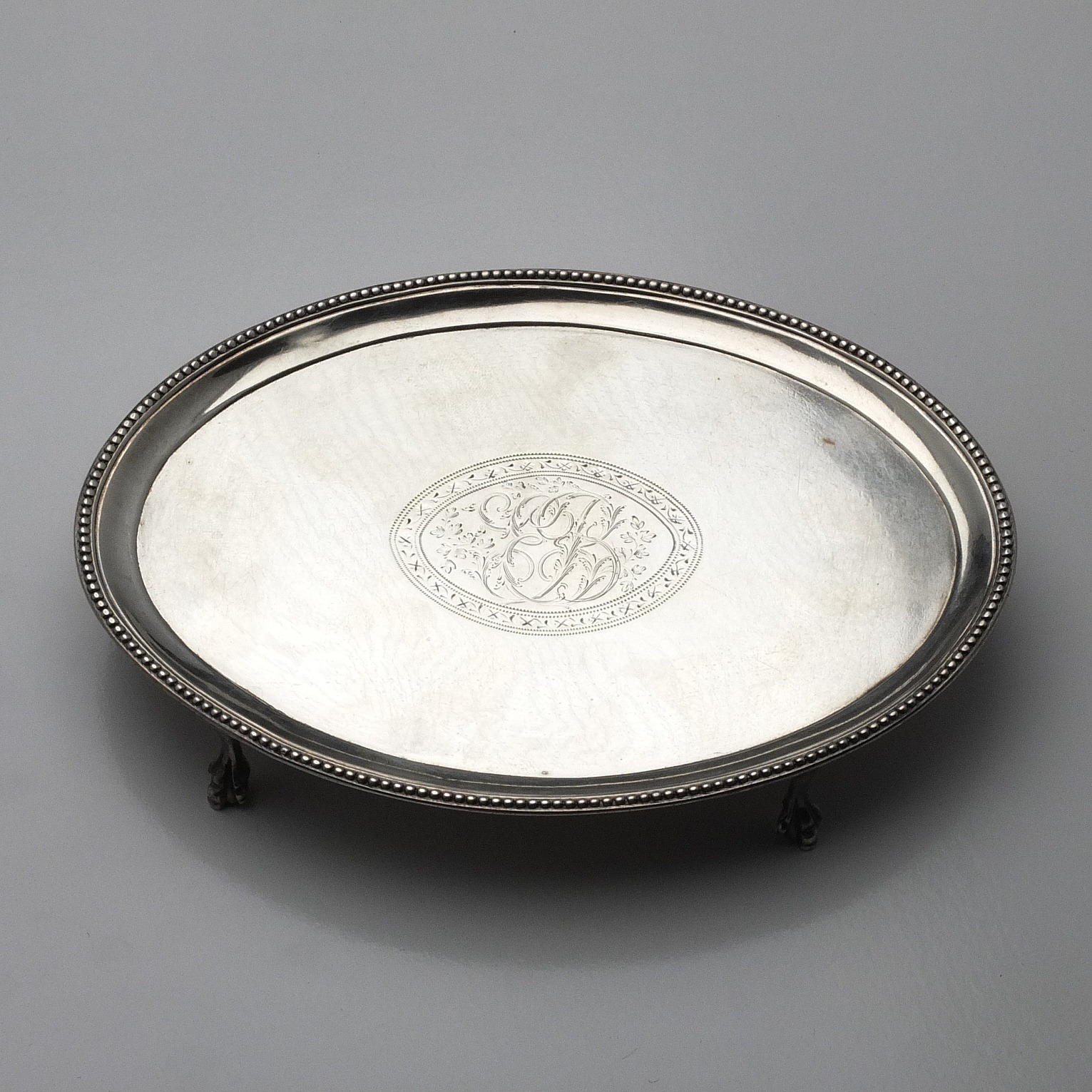 'George III Sterling Silver Bright Cut and Engraved Trivet London 1786'