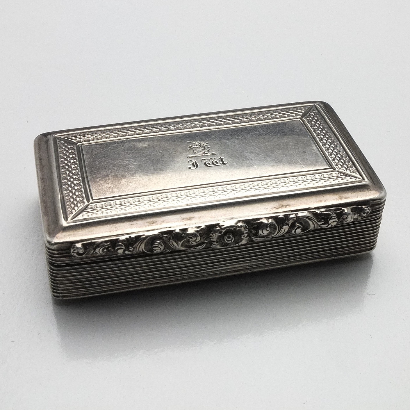 'Georgian Monogrammed and Crested Sterling Silver Engine Turned and Chased Snuff Box Edward Smith Birmingham 1827'