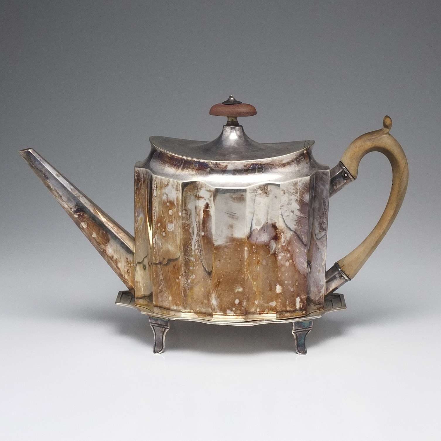 'George III Sterling Silver Teapot and Trivet Thomas Hobbs London 1793'