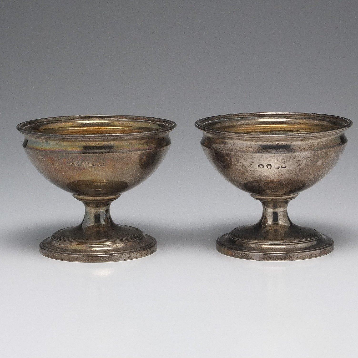 'Pair of George III Sterling Silver Raised Open Salts London 1813'