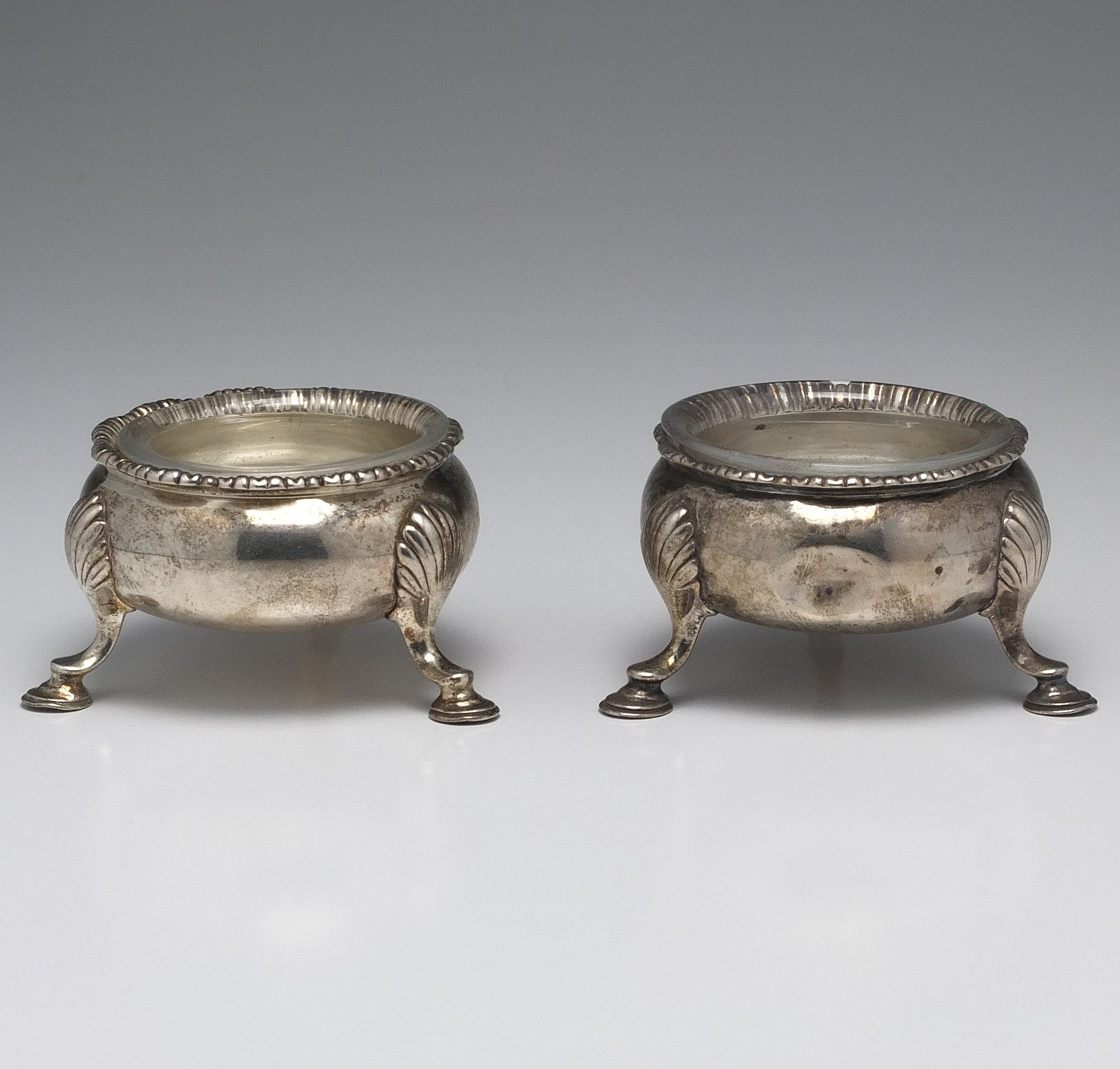 'Pair of George II Sterling Silver Open Salts with Shell Form Feet London Circa 1749'