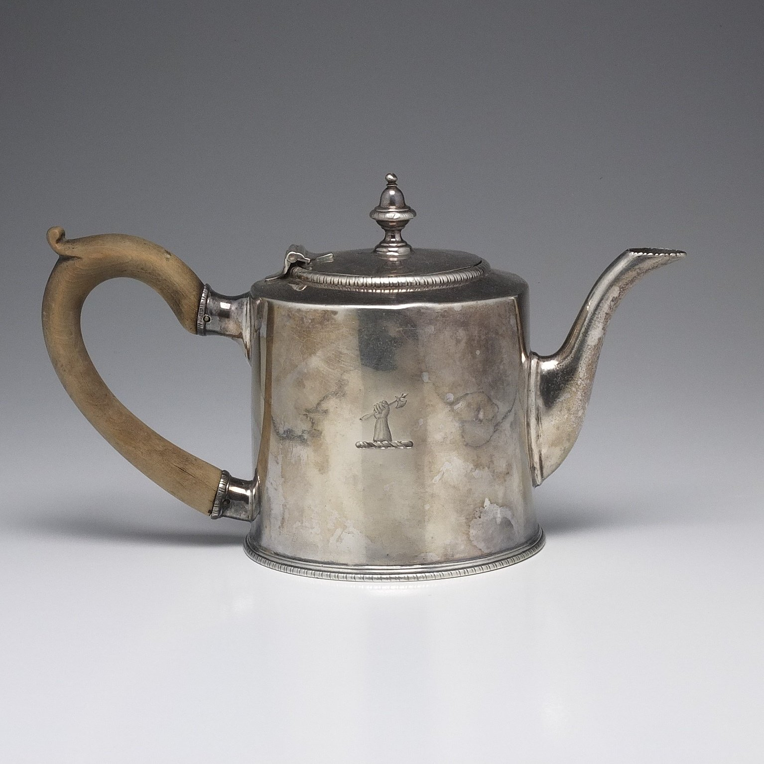 'George III Crested Sterling Silver Teapot Francis Crump London 1772'