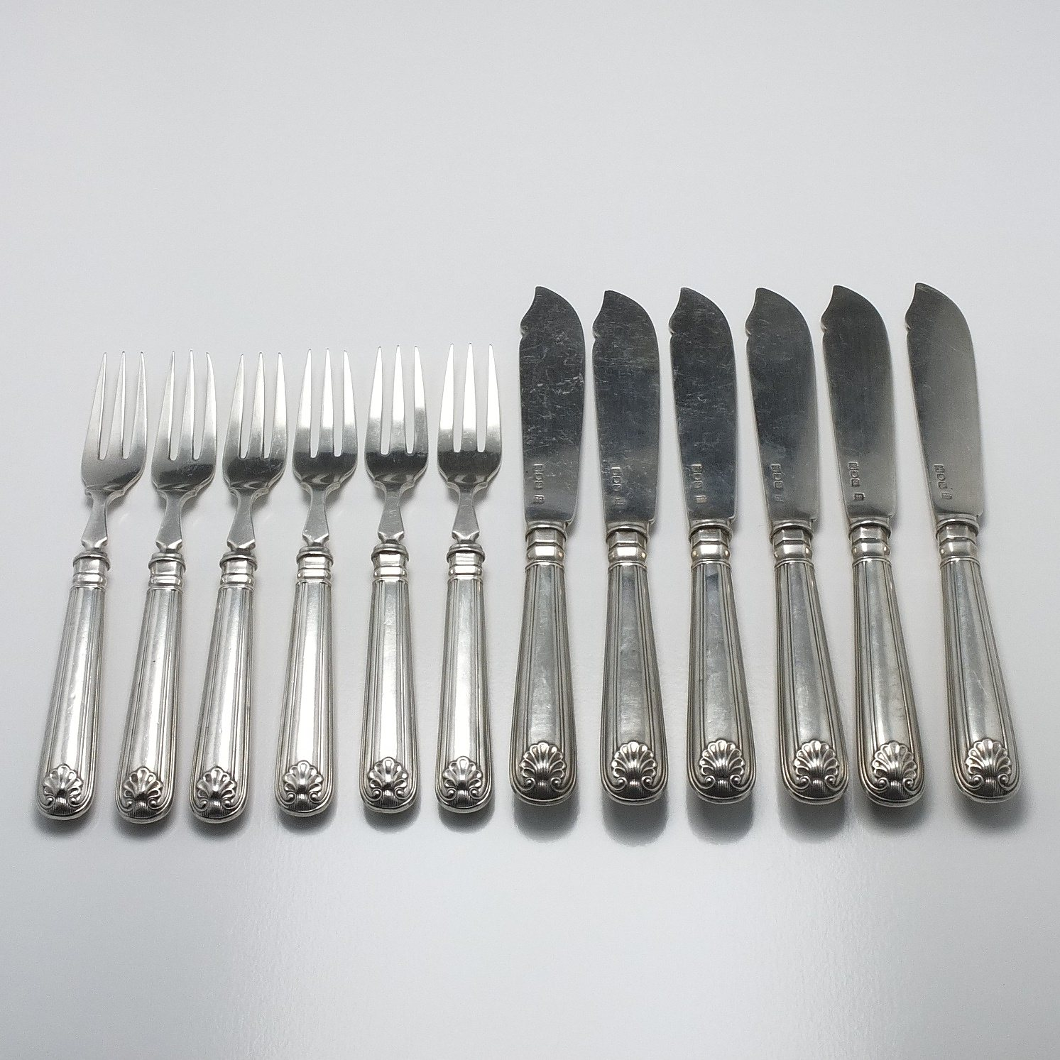 'Edwardian Sterling Silver Kings Pattern Fish Knives and Forks for Six Charlie Jacques & Frederick Bartholomew London 1902'