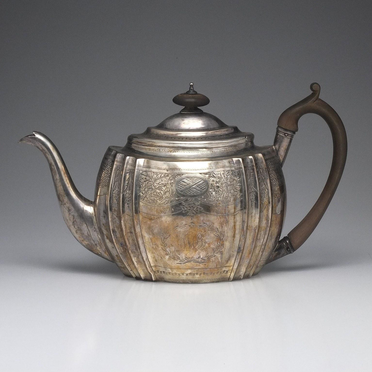 'George III Monogrammed Sterling Silver Teapot Samuel Godbehere, Edward Wigan & James Boult London 1802'