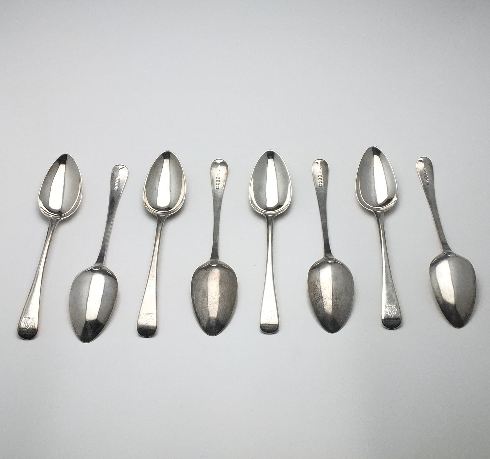 'Eight George III Crested Sterling Silver Table Spoons George Smith (III) & William Fearn London 1794'