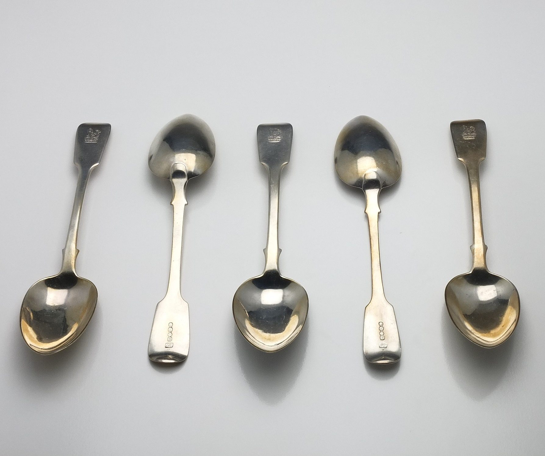 'Five Georgian Crested Sterling Silver Table Spoons Jonathan Hayne London 1832'