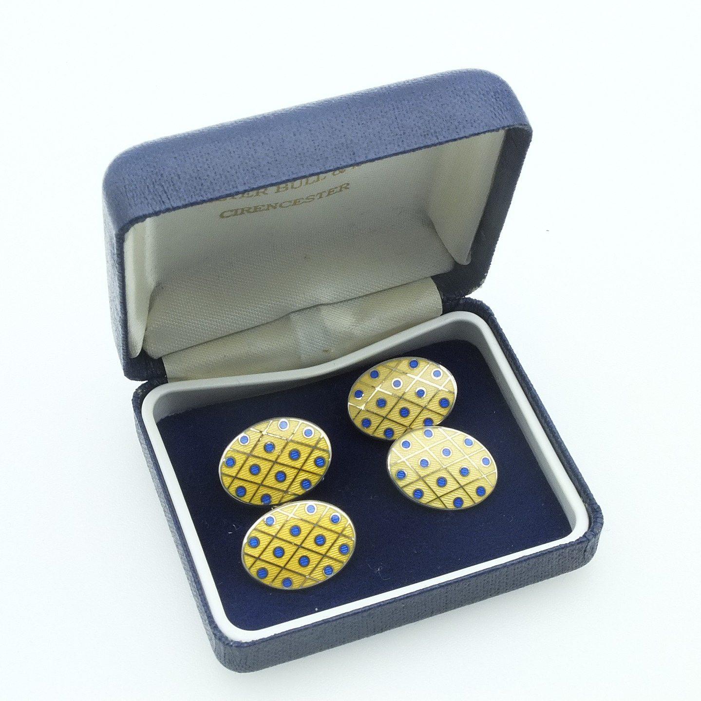 'Sterling Silver and Enamel Double Cufflinks Deakin & Francis Ltd Birmingham 1998'
