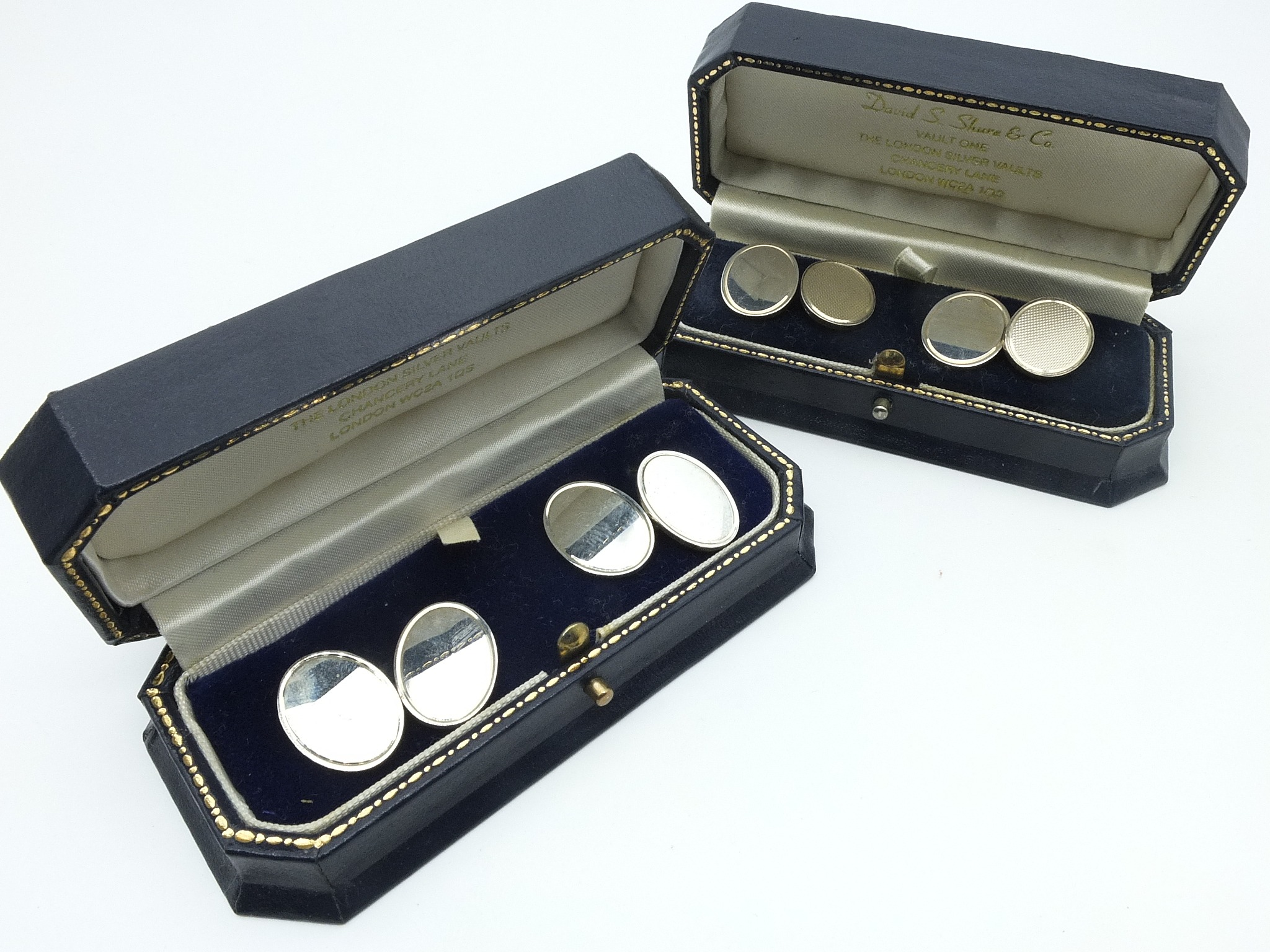 'Two Pairs of Boxed Sterling Silver Double Cufflinks'
