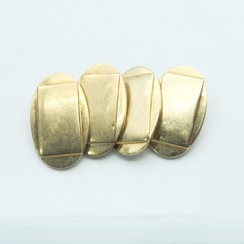 '9ct Yellow Gold Oval Double Cufflinks'