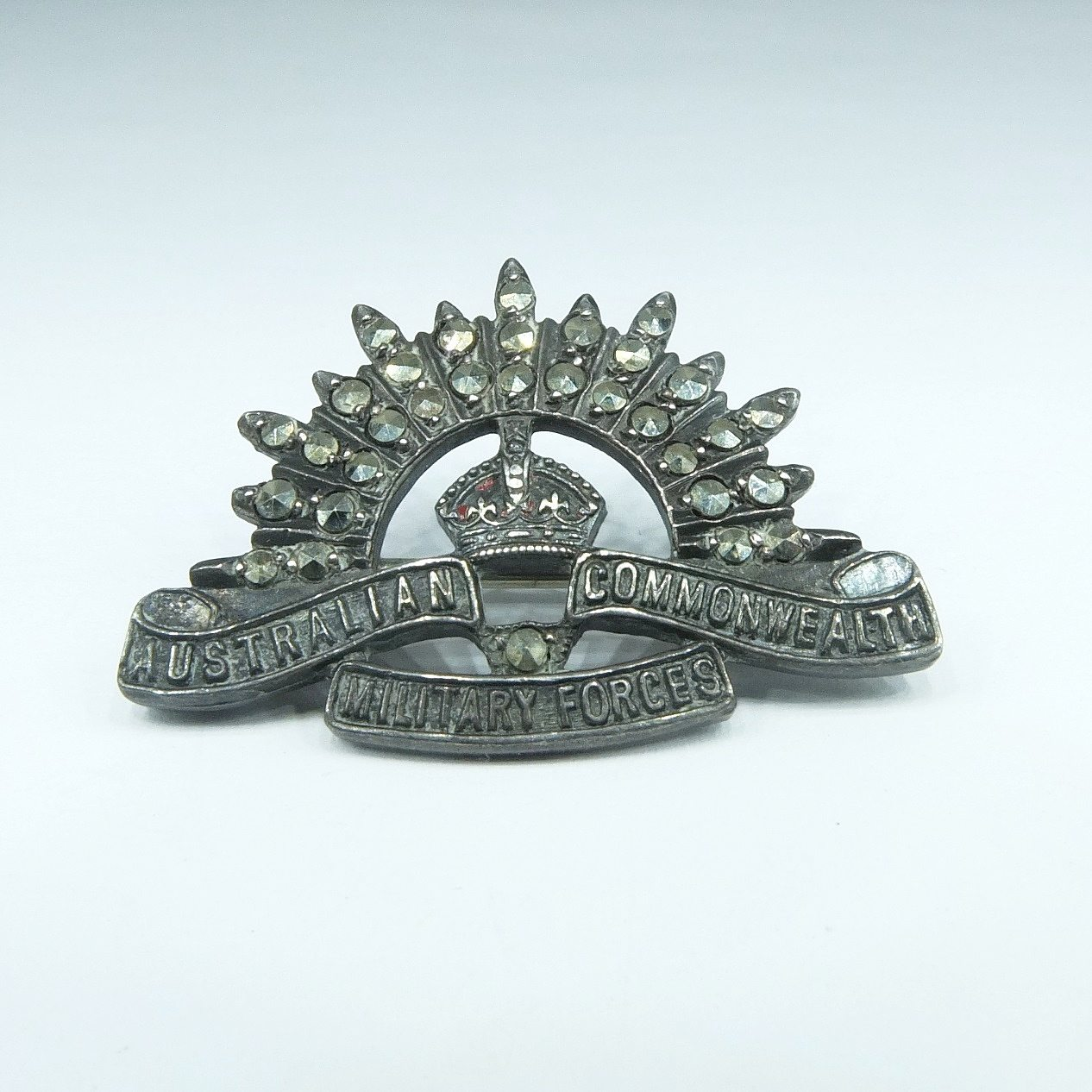 'Sterling Silver and Marcasite Australian Commonwealth Military Forces Badge'