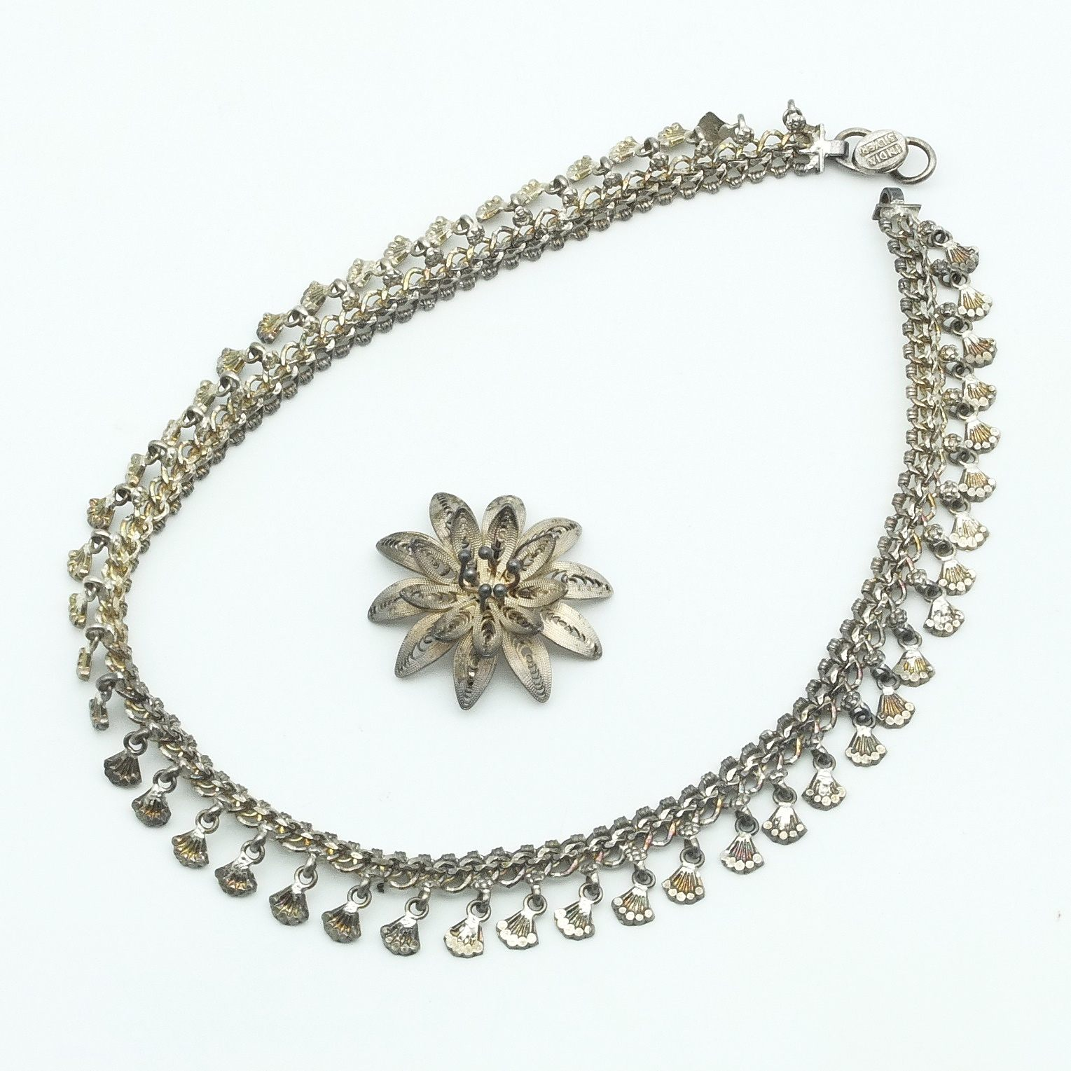 'Indian Silver Collier and Indian Silver Filigree Flower Brooch'