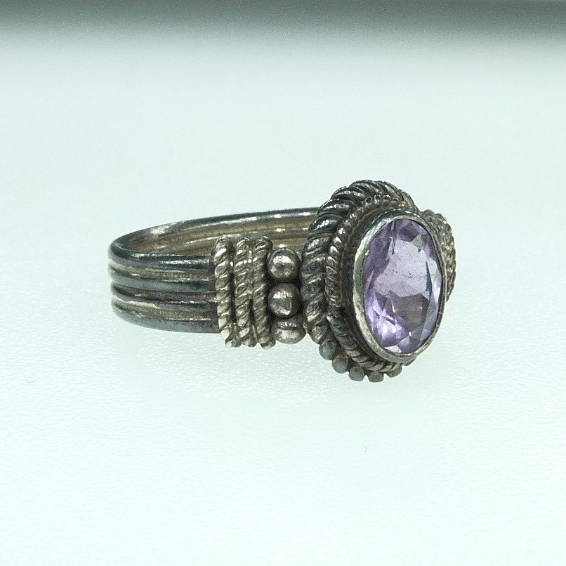 'Indian Silver and Oval Amethyst Ring'