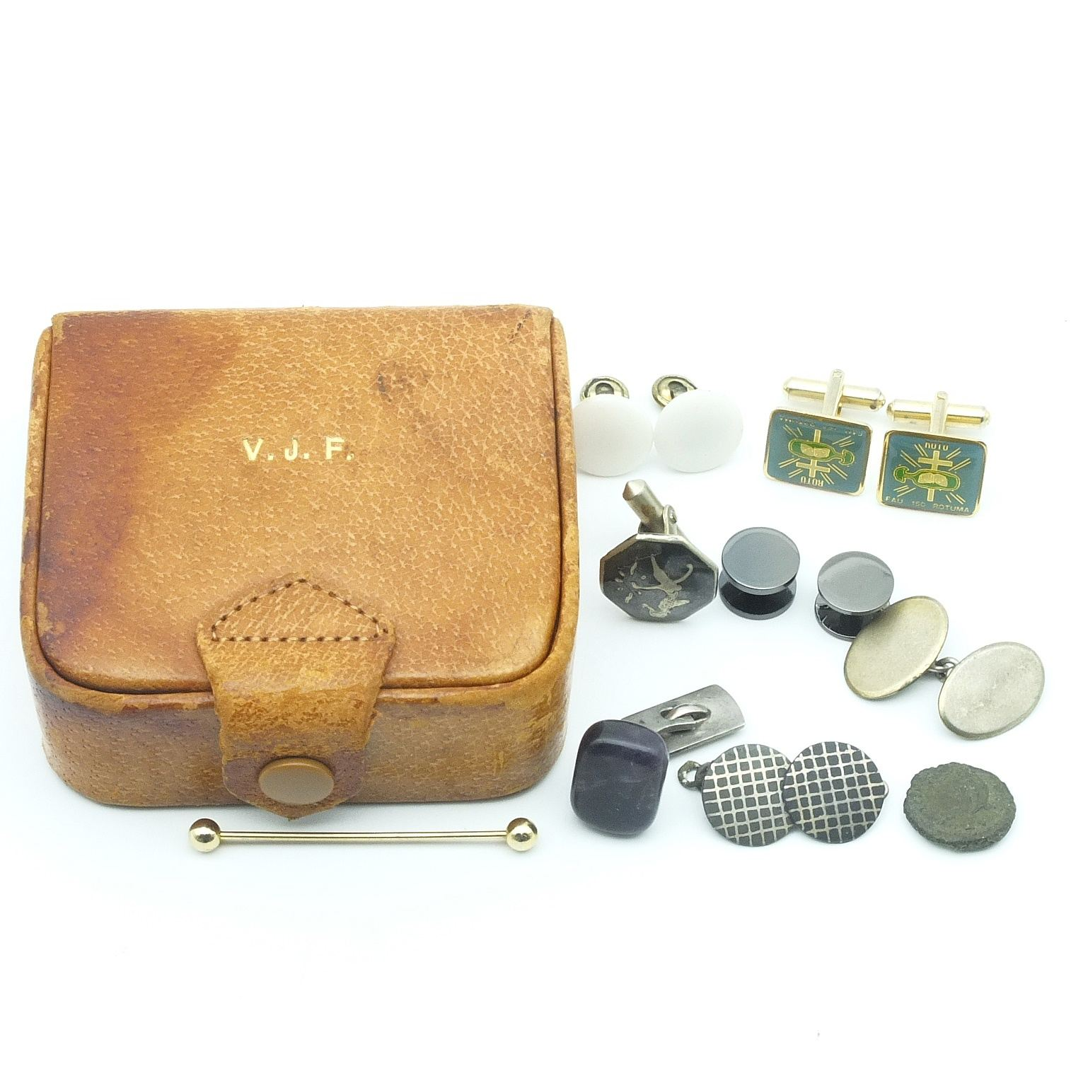 'Tie Bar, Ancient Coin, Monogrammed English Leather Box, Tumbled Piece of Amethyst and More'