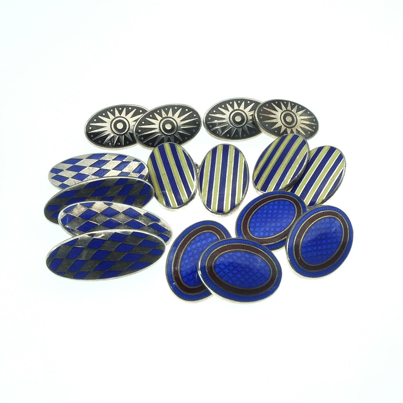 'Four Pairs of Sterling Silver and Enamel Double Cufflinks'