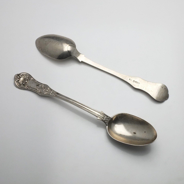 'Pair of Large Georgian Sterling Silver Kings Pattern Serving Spoons Peter Aitken I Glasgow 1837'