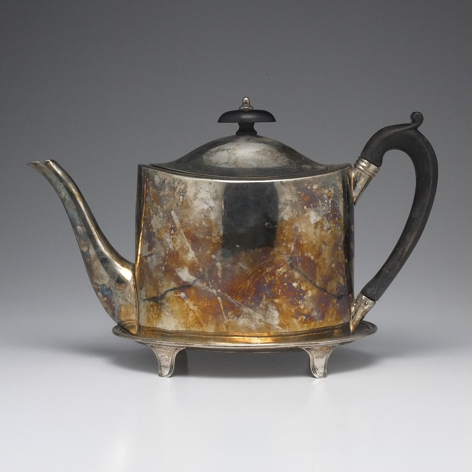 'George III Sterling Silver Teapot and Trivet John Emes London 1801'