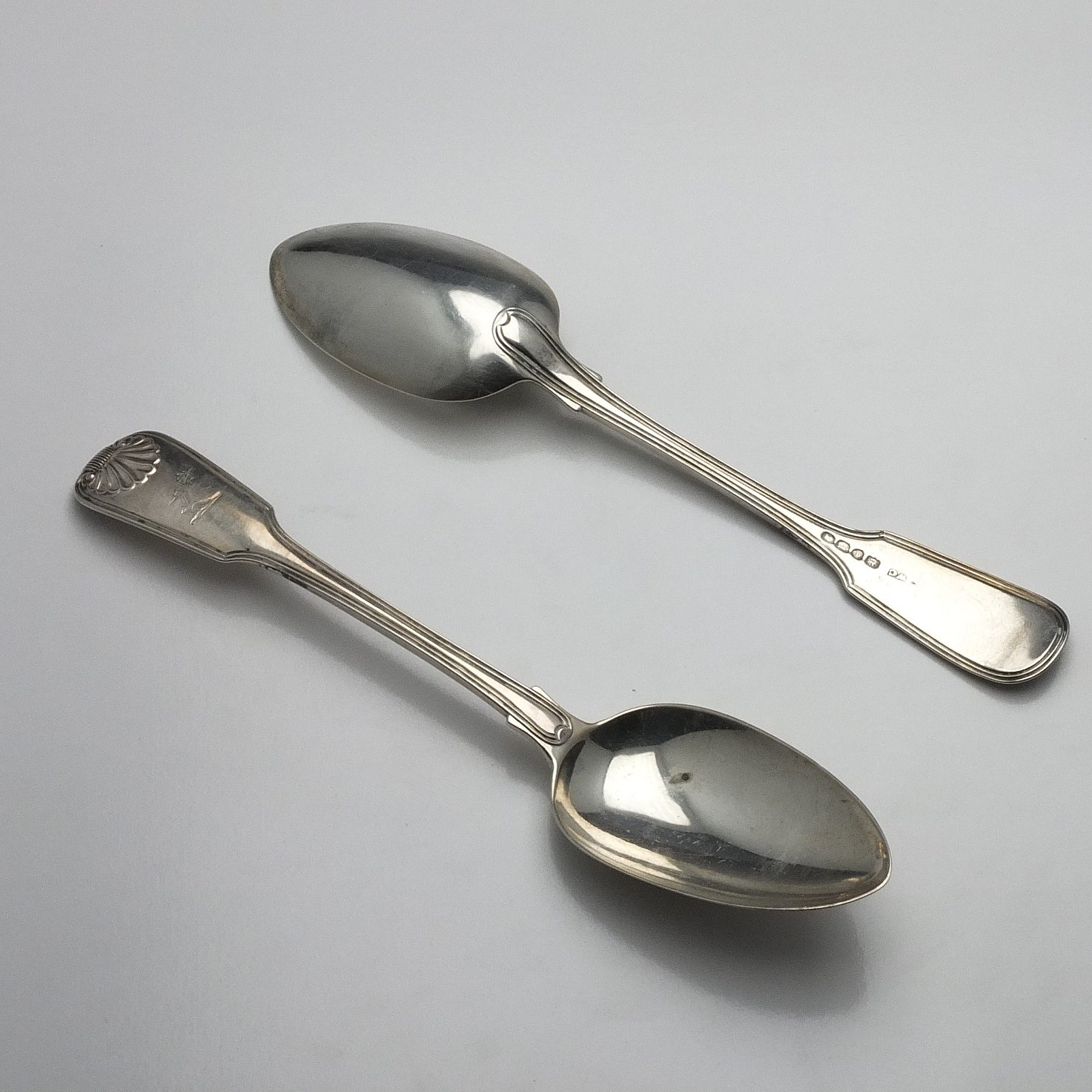 'Pair of Georgian Crested Sterling Silver Table Spoons William Chawner II London 1831'