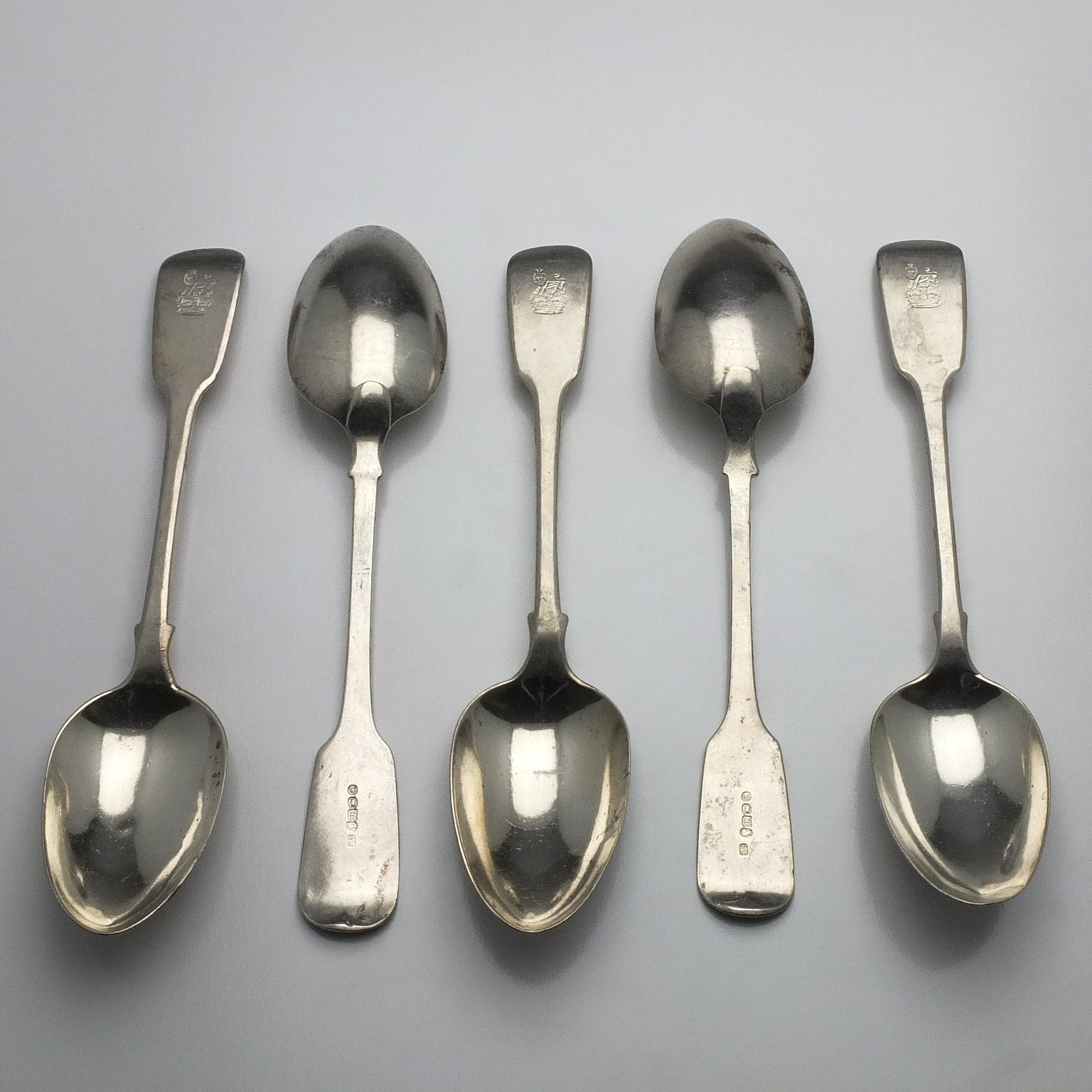 'Five Victorian Crested Sterling Silver Table Spoons Edwin Henry Sweet London 1839'