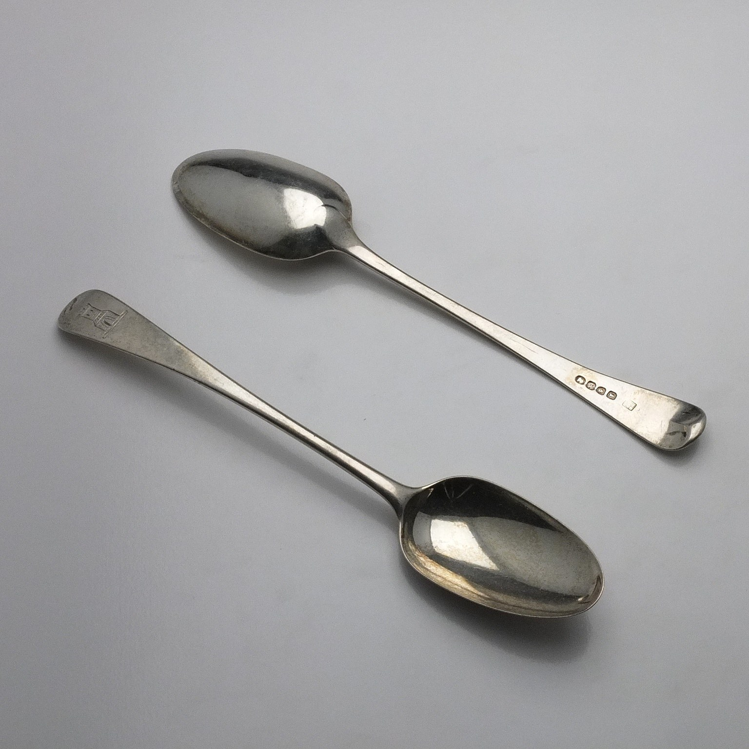 'Two George III Crested Sterling Silver Table Spoons William Eley, William Fearn & William Chawner London 1811'