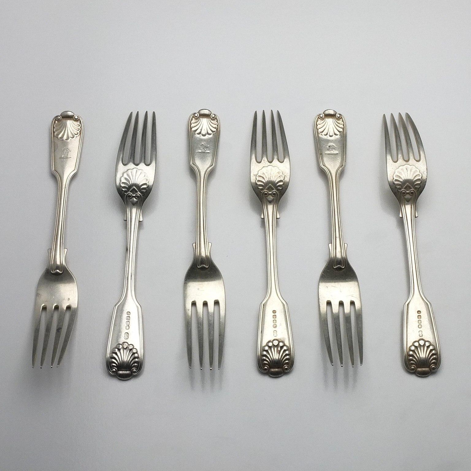 'Six Victorian Crested Sterling Silver Entree Forks Elkington & Co Birmingham 1884'