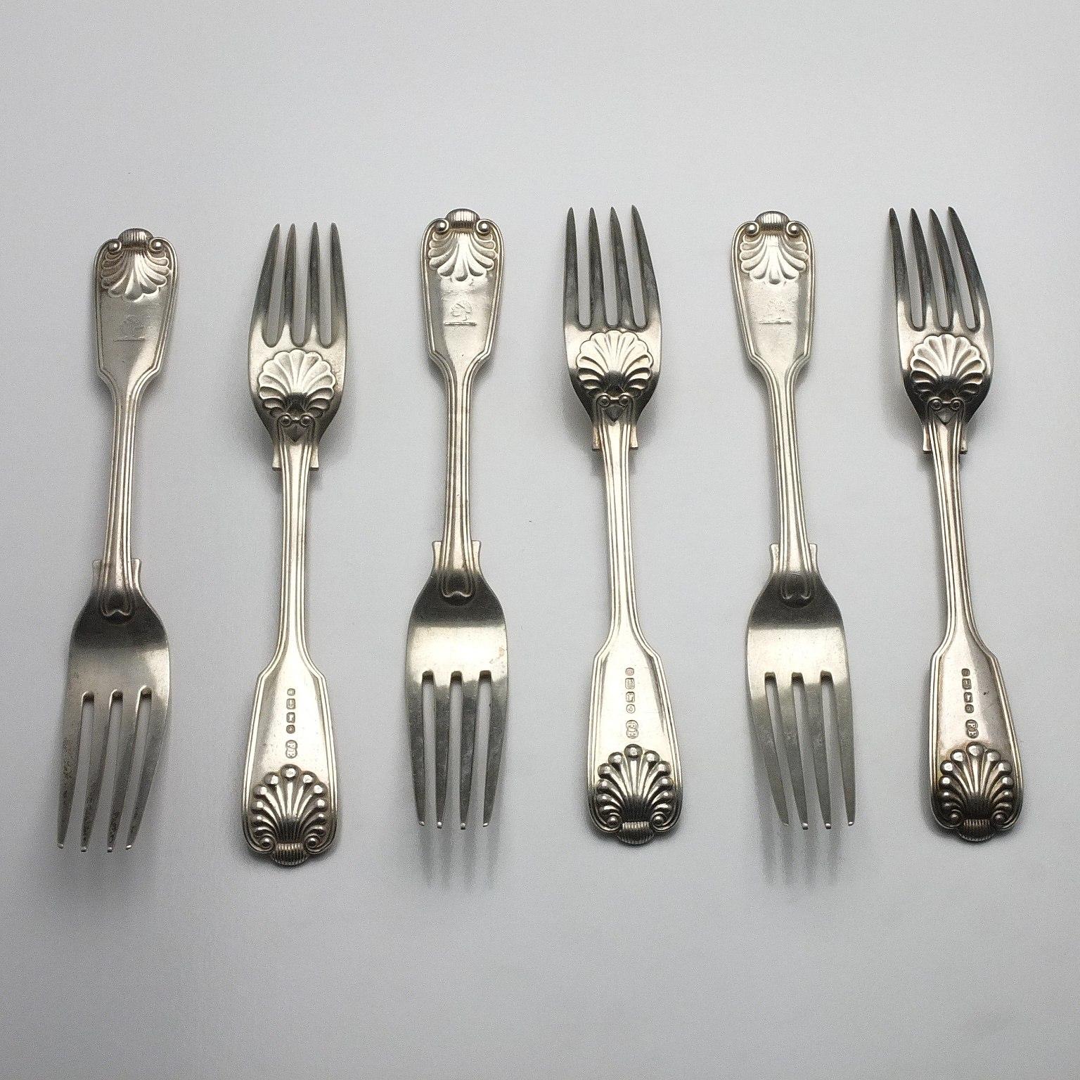 'Six Victorian Crested Sterling Silver Mains Forks Elkington & Co Birmingham 1884'