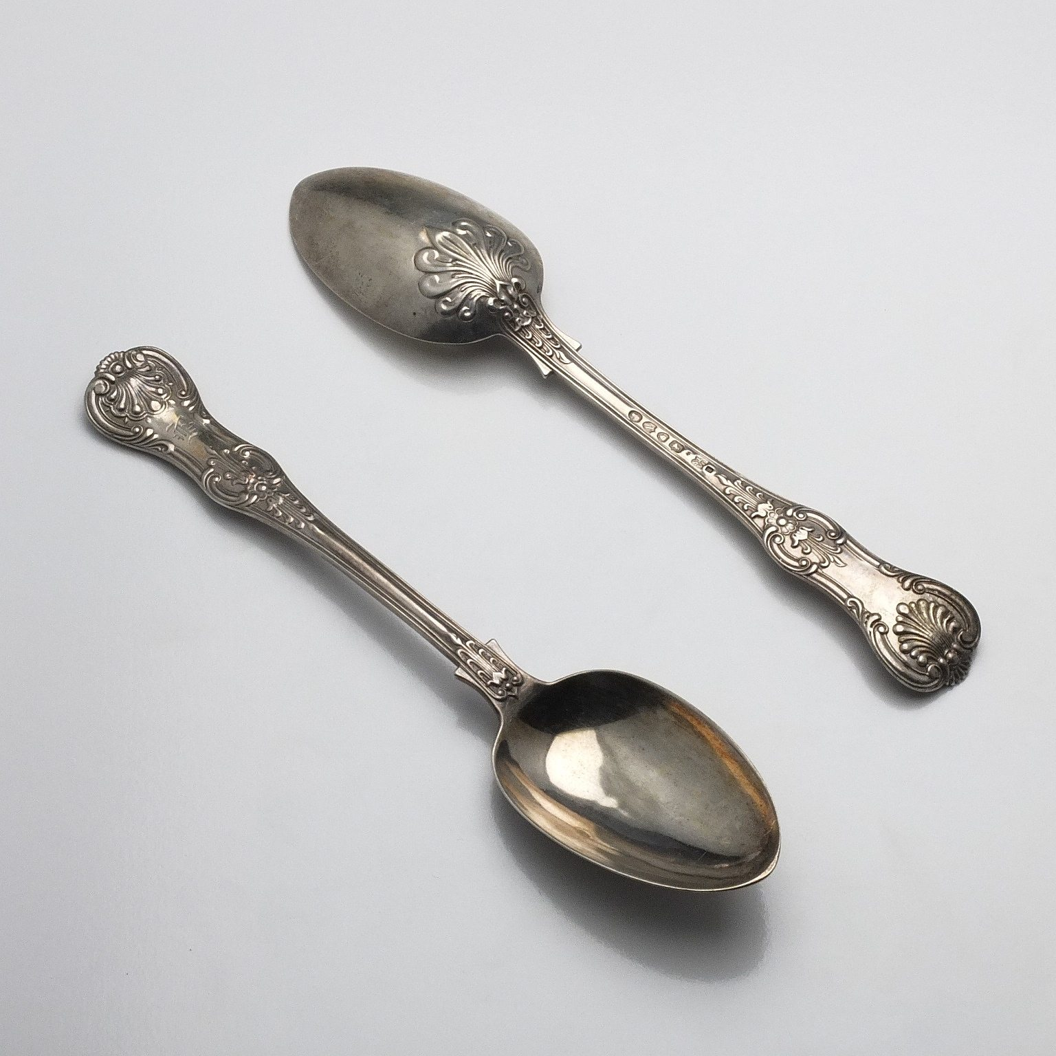 'Pair of Victorian Monogrammed Sterling Silver Kings Pattern Table Spoons John Aldwinckle & Thomas Slater London 1888'