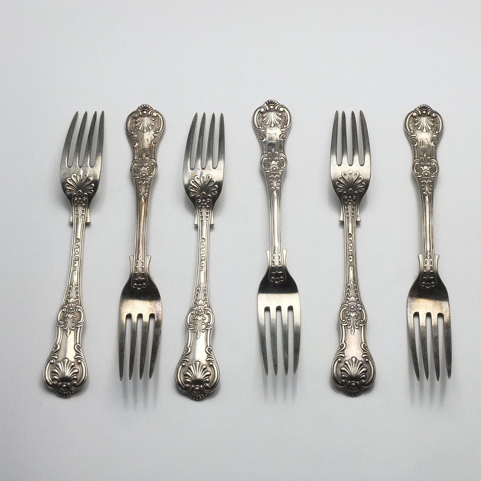 'Six Victorian Monogrammed Sterling Silver Kings Pattern Entree Forks John Aldwinckle & Thomas Slater London 1888'