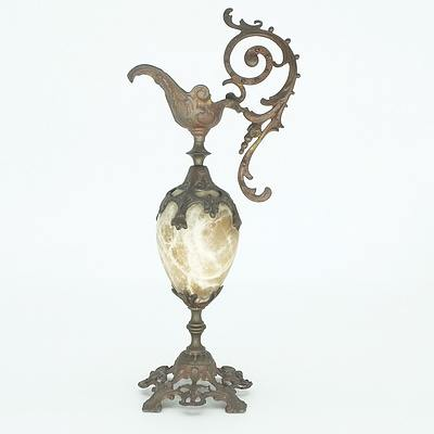 French Renaissance Style Cast Metal and Marble Ewer