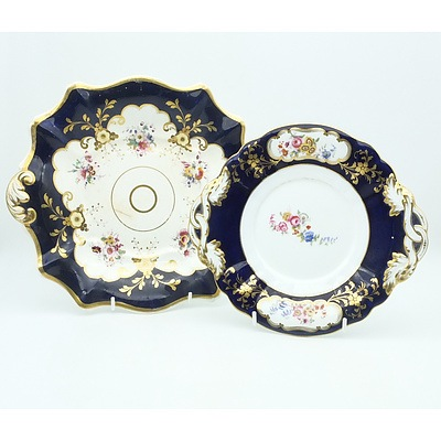 Two Early Victorian Hand Painted and Gilded Porcelain Plates