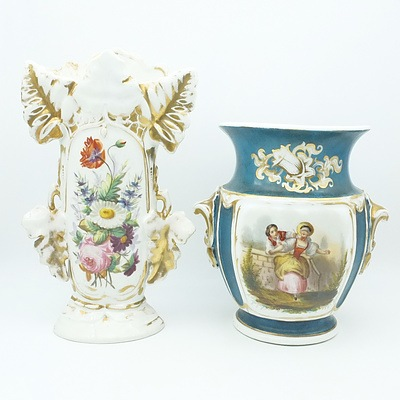 Hand Painted and Gilded Continental Porcelain Urn and Mantle Vase