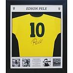 Framed Pele Brazilian Jumper Signed with Career Stats