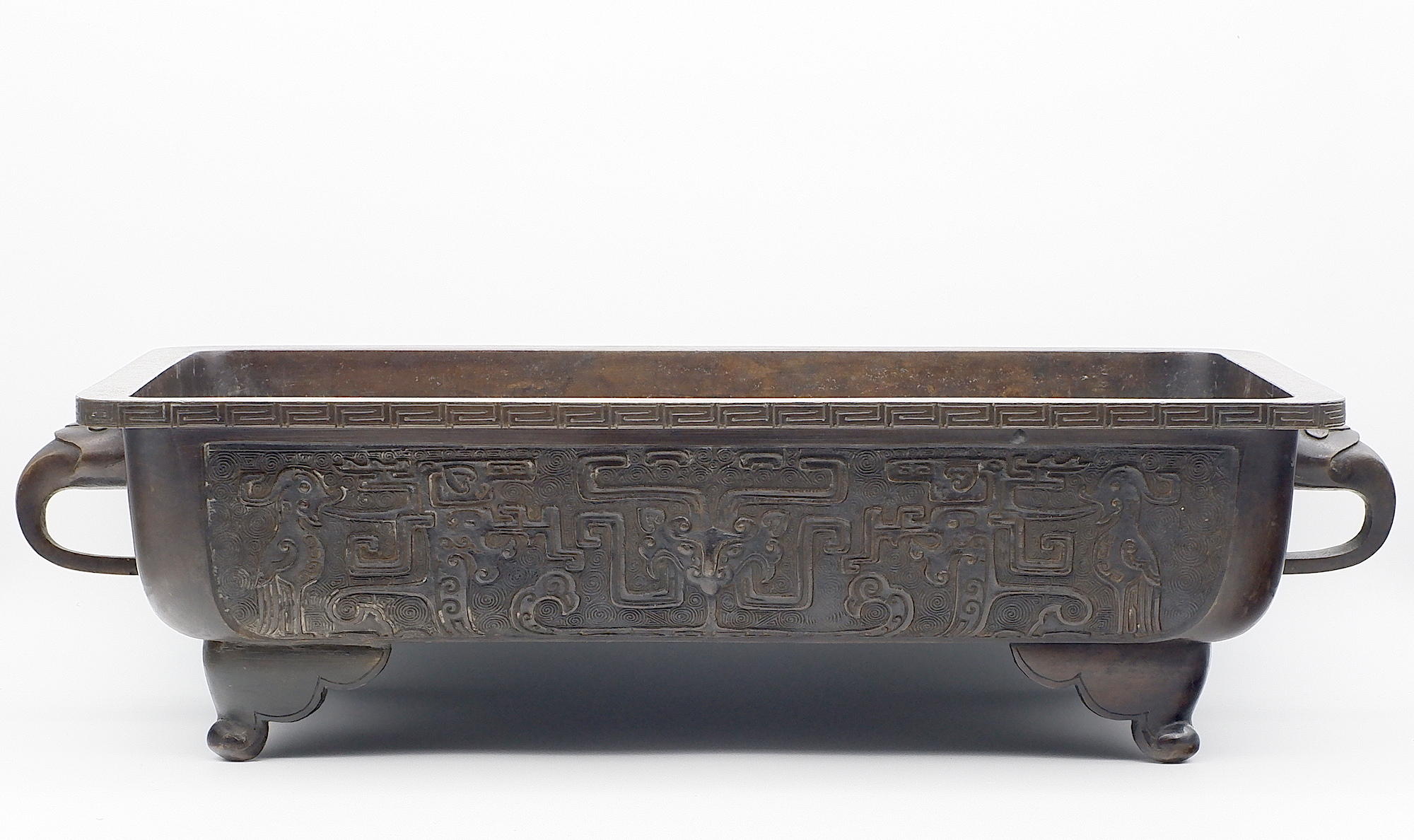 'Chinese Archaistic Bronze Narcissus Planter or Basin, Qing Dynasty 18th or 19th Century'