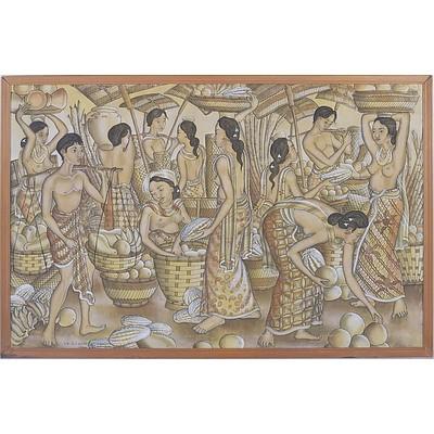 Balinese Tempera on Linen, Ubud, Signed Suharto