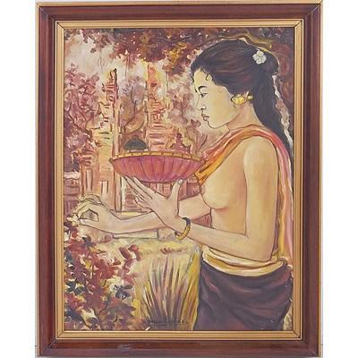Balinese Temple Offering, Oil on Board, Signed Wajan 1963