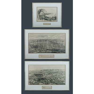 19th C Australian City Views. Reproductions of original wood engravings pub. by Australian National Library.
