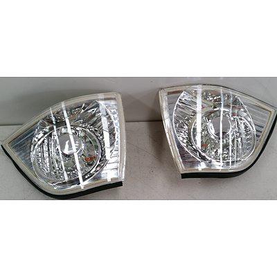 BMW E36 2 Door Crystal Left & Right Front Light White Indicator Lenses -2 Pair