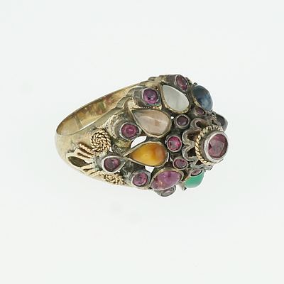 Indian Metal Ring with Semi Precious Gems in Tiered Cluster