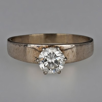 18ct White Gold Ring with Round Brilliant Cut Diamond in A High Six Claw Setting
