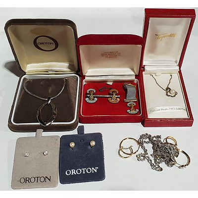 Silver Gold Plated Cultured Gold Pendant, Ballroom Dancing Medals, Oroton Costume Jewellery and Two Pairs of Metal Round Earrings