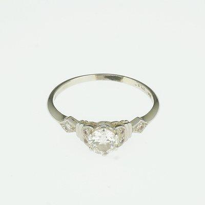 18ct White Gold and Platinum Diamond Ring