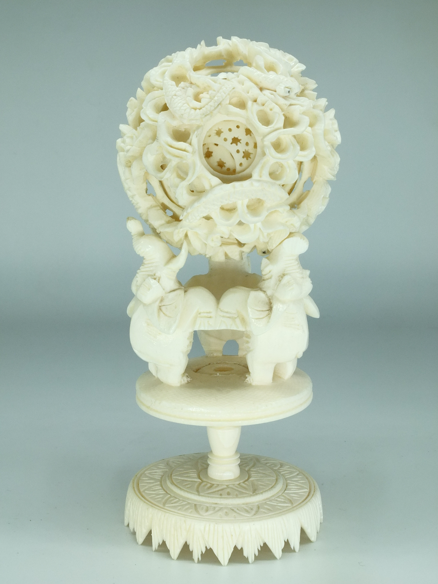 'Chinese Elephant Ivory Puzzle Ball on Stand Early to Mid 20th Century'