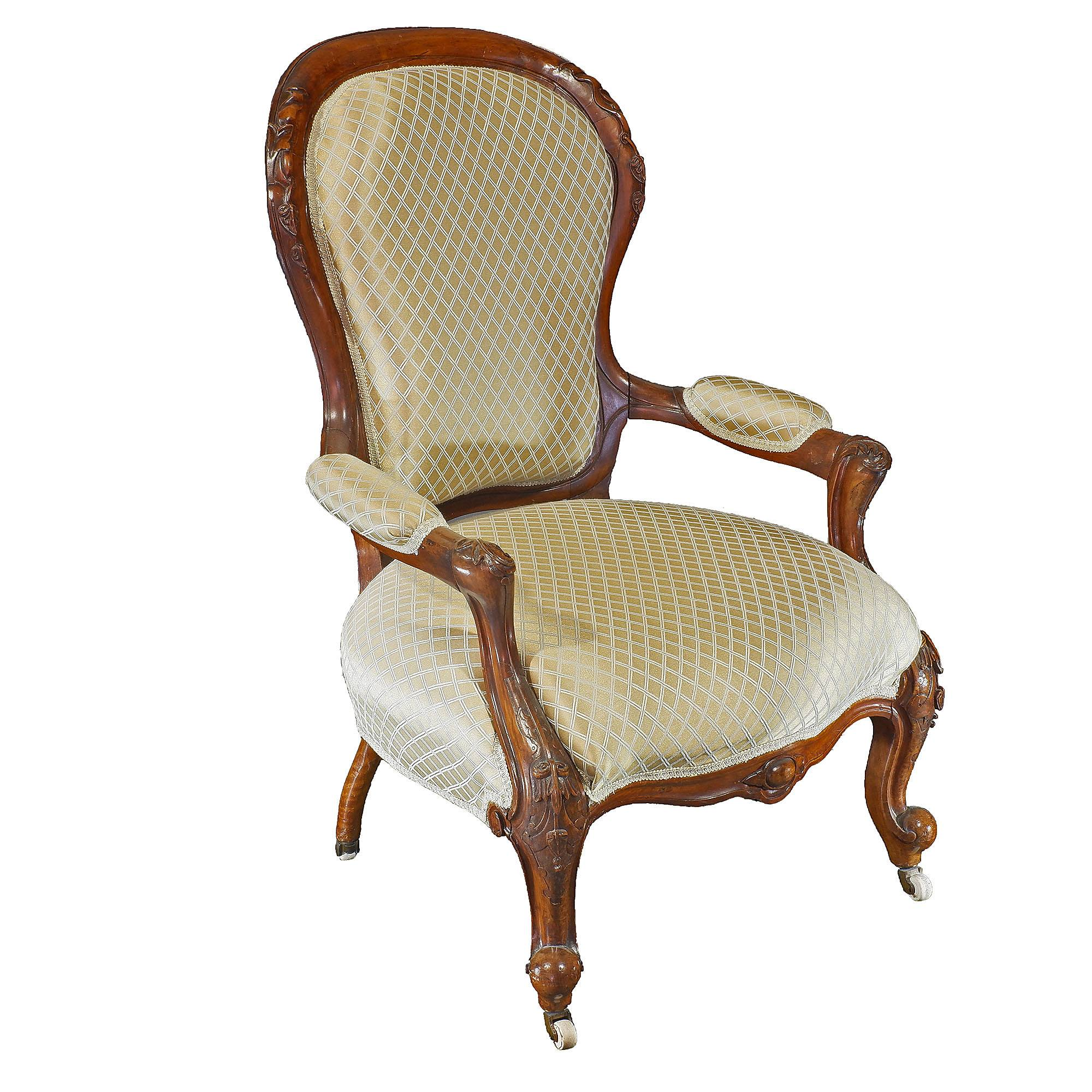 'Victorian Walnut Salon Chair Circa 1880'