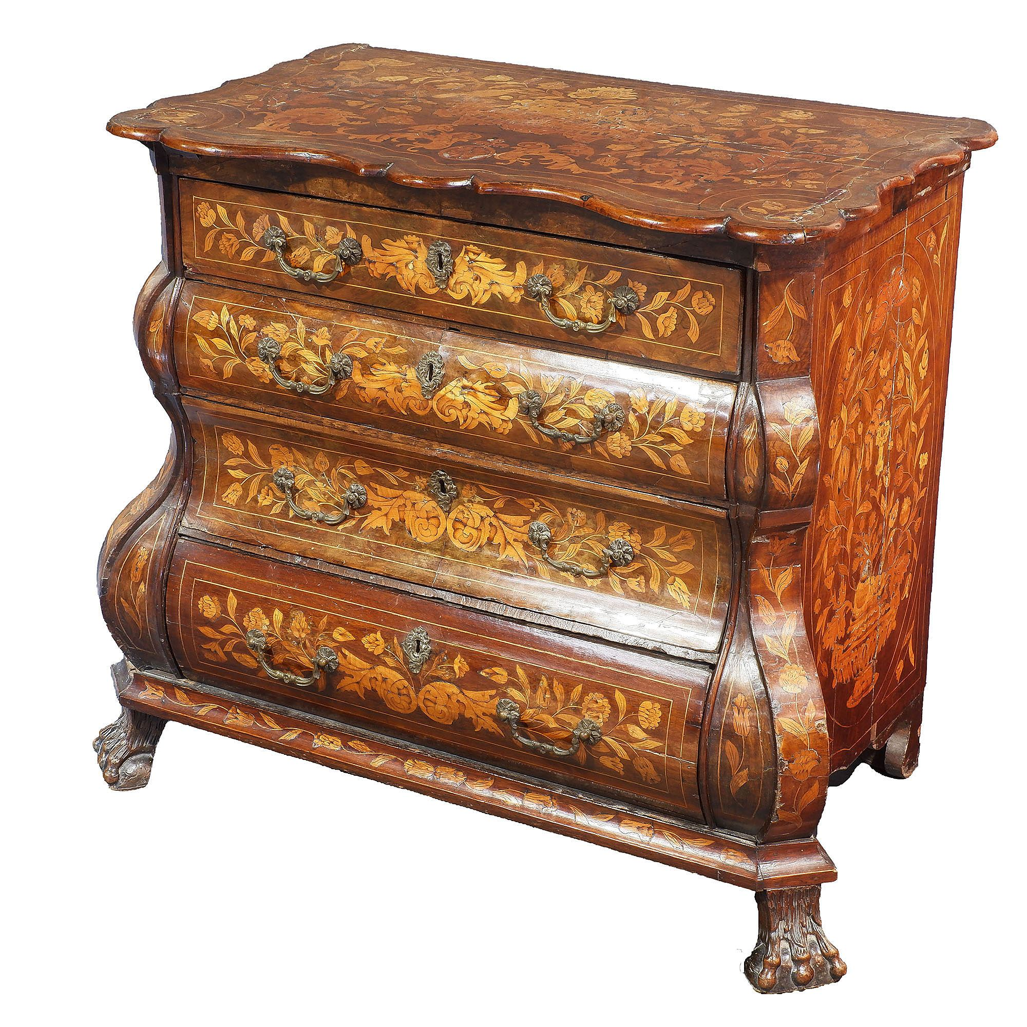 'Flemish Marquetry Inlaid Walnut Bomb Shape Commode Circa 1780'